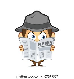 Detective spying through newspaper