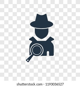 Detective vector icon isolated on transparent background, Detective transparency logo concept