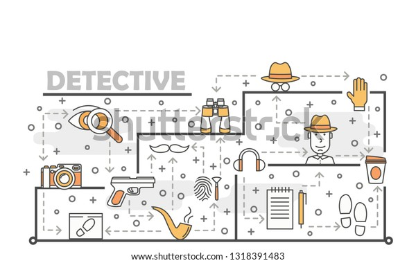 Detective Vector Poster Banner Template Private Stock Vector