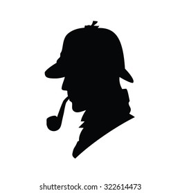 Detective vector profile icon, logo. Detective vector silhouette. Man in hat, agent spy, private and mysterious, human inspector
