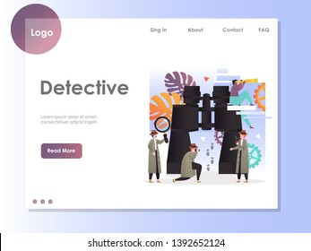 Detective vector website template, web page and landing page design for website and mobile site development. Investigative services concept.