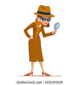Detective woman snoop magnifying glass tec search help noir cartoon female cartoon character isolated design vector illustration