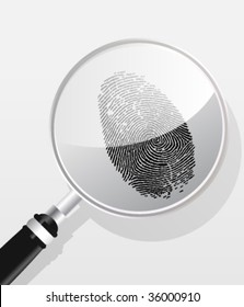 Detectives magnifier, fingerprint