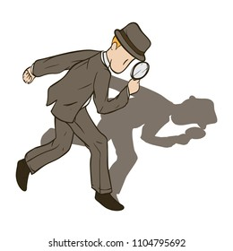 detectives searching clue with magnifier. Isometric people in vector illustration.