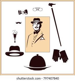 detective's set vector illustration