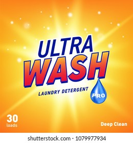 detergent advertising concept design for product packaging in yellow orange color