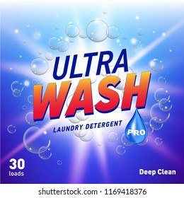 detergent advertising concept design for product packaging in blue color