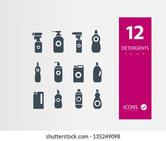 detergent bottle icon set  ( Set of 16 Quality icons )