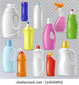 Detergent bottle vector plastic blank container with detergency liquid and mockup household cleaner product for laundry illustration set of cleanup deterge package isolated on transparent background