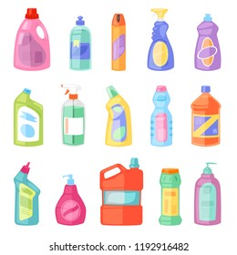 Detergent bottle vector plastic blank container with detergency liquid and mockup household cleaner product for laundry illustration set of cleanup deterge package isolated on white background