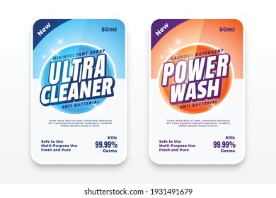 detergent labels or disinfectant stickers set