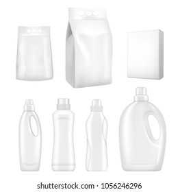 Detergent package mockup set. Vector realistic illustration of white blank packaging foil, paper and plastic containers for washing powder or cleaning household products isolated on white background.