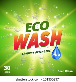 detergent packaging concept design showing eco friendly cleaning and washing