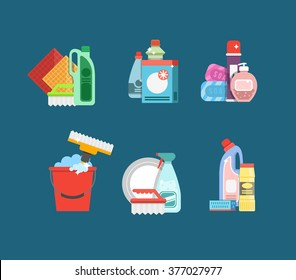 Detergents for cleaning home or hotel.