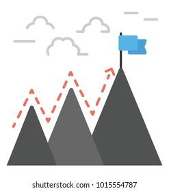 Determination flat icon, perseverance