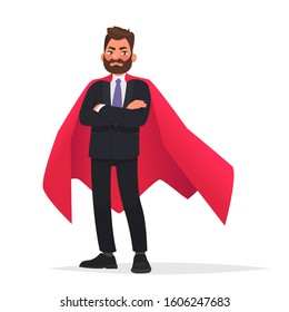Determined businessman or office worker super hero in a red cloak. The concept of leadership and strength in business. Vector illustration in cartoon style.