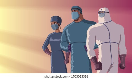 Determined medical doctors in superhero poses, ready to face the illness.