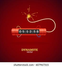 Detonate Dynamite Bomb Stick and Timer Clock on Red Background Symbol of Danger. Vector illustration