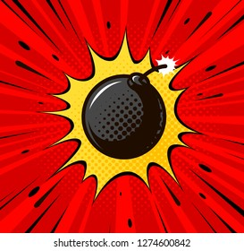 Detonation of bomb, cannonball. Burning wick, boom, explosion concept. Pop art retro comic style. Cartoon vector illustration