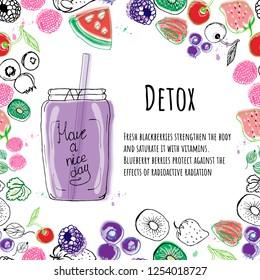 detox, body cleansing, watercolor, painted, hand, black white, coloring, seamless pattern, recipe, fruit, decoration, design, smoothie, smoothie jar, mug, cocktail, apple, banana, kiwi, menu, bar, ca