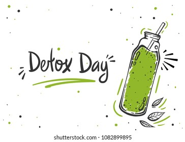Detox day diet poster in doodle style with typography