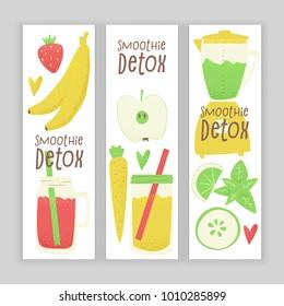 Detox smoothie, vector colorful concept, cartoon style design