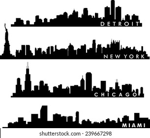 Detroit, Chicago, New York, Miami skyline