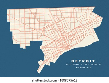 Detroit City Map Vector Poster