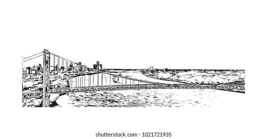 Detroit City, Michigan, USA. Hand drawn sketch illustration in vector.
