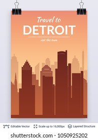 Detroit famous city scape. Flat well known silhouettes. Vector illustration easy to edit for flyers, posters or book covers.