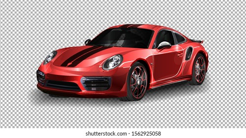 DETROIT - JANUARY 11: vector illustration Porsche GT2 at the motorshow on transparent background, racing exclusive car with realistic shadow