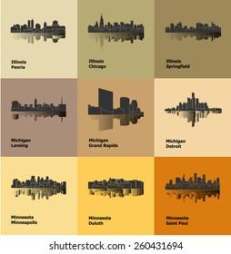 Detroit, Lansing, Grand Rapids, Duluth, Minneapolis, Saint Paul, Chicago, Peoria, Springfield (Set of 9 City)