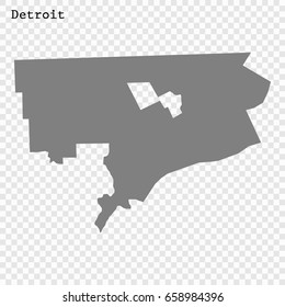 Detroit Map. City of the United States. vector illustration
