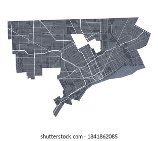 Detroit map. Detailed vector map of Detroit city administrative area. Cityscape poster metropolitan aria view. Dark land with white streets, roads and avenues. White background.