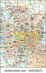 Detroit, Michigan area map