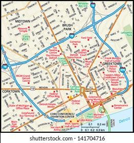 Detroit, Michigan downtown map