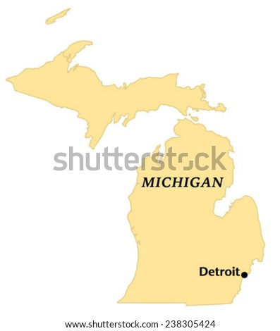 Detroit Michigan Locate Map Stock Vector Royalty Free 238305424