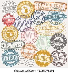 Detroit Michigan Stamp Vector Art Postal Passport Travel Design Set