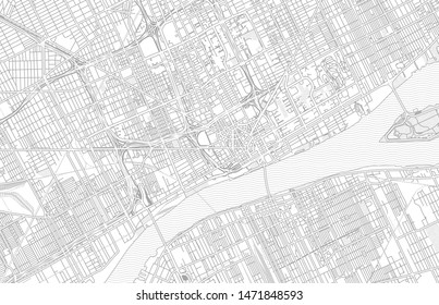 Detroit, Michigan, USA, bright outlined vector map with bigger and minor roads and steets created for infographic backgrounds.