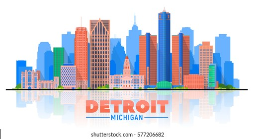 Detroit, Michigan (USA) city skyline vector illustration on white background.Business travel and tourism concept with modern buildings. Image for presentation, banner, web site.
