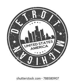 Detroit Michigan USA Stamp Logo Icon Symbol Design Skyline City