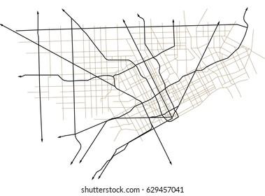 Detroit, Michigan (USA) street vector map