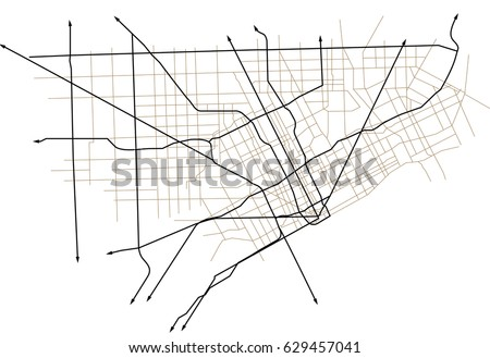 Detroit Michigan USA Street Vector Map Stock Vector (Royalty Free ...