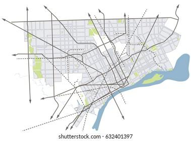 Detroit, Michigan (USA) vector map