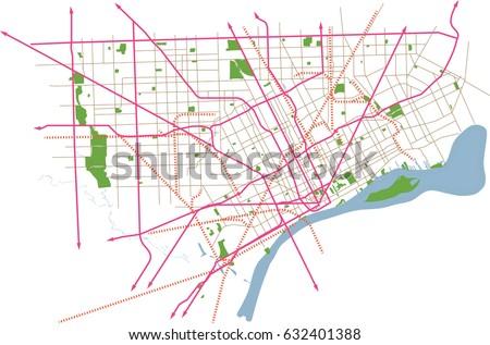 Detroit Michigan USA Vector Map Vector de stock (libre de regalías ...