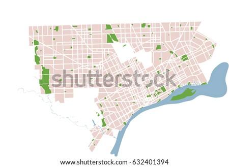 Detroit Michigan USA Vector Map Stock-Vrgrafik (Lizenzfrei ... on
