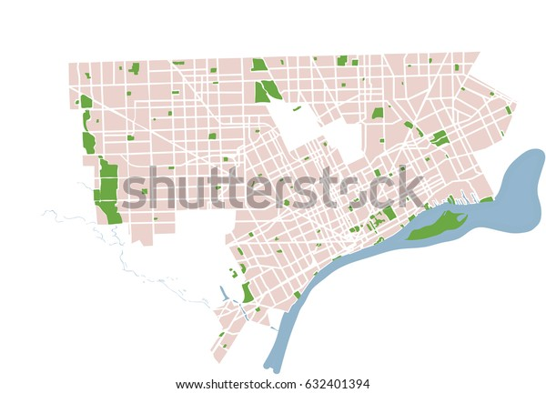 Detroit Michigan Usa Vector Map Stock Vector (Royalty Free) 632401394