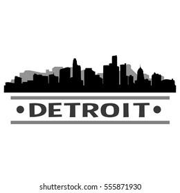 Detroit Skyline Silhouette. Cityscape Vector Famous Buildings Clip Art Design.