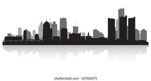Detroit USA city skyline silhouette vector illustration