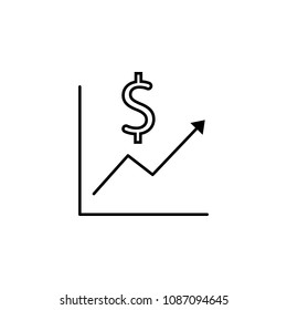 Devaluation and inflation. Currency growth vector icon on white background